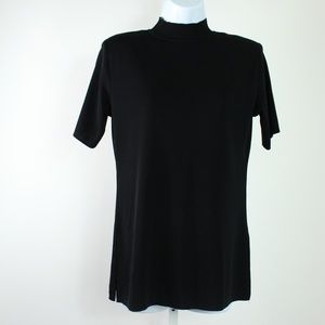 Misook xsmall black short sleeve mock neck top